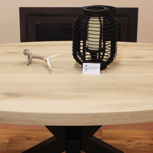 Ovaal tafelblad eiken 2,20 x 1,10 meter 6cm dikke rand