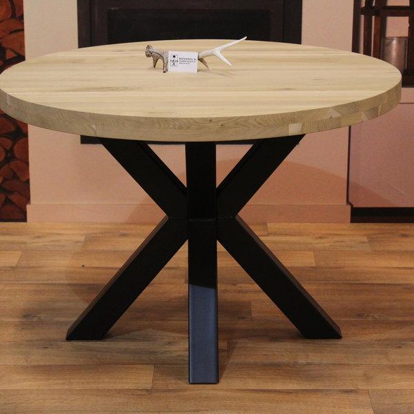 Eettafel eiken hout rond - dubbel X tafelonderstel