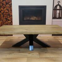 Salontafel eiken hout BOOMSTAM - Matrix tafelonderstel
