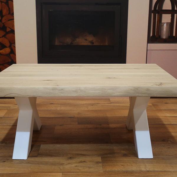 Salontafel eiken hout BOOMSTAM - X tafelonderstel