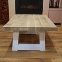 Salontafel eiken hout BOOMSTAM - Trapezium tafelonderstel