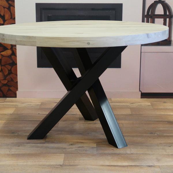 Eettafel eiken hout rond - twist tafelonderstel