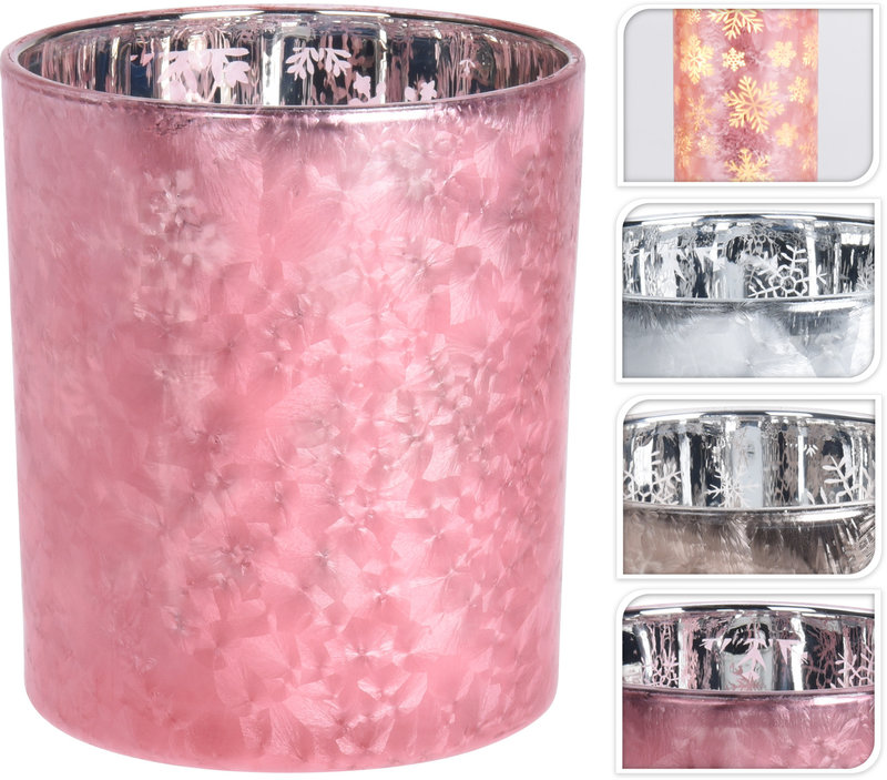 THEELICHTHOUDER ROZE FROSTED 8 CM