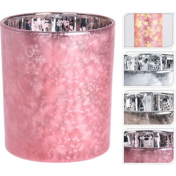 THEELICHTHOUDER ROZE FROSTED 12 CM