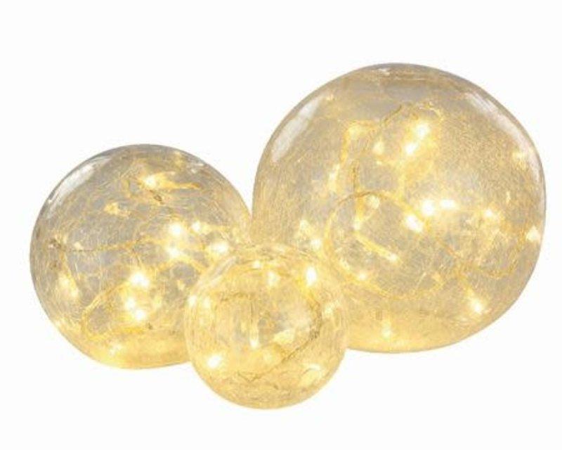 BAL GLAS LED HELDER CRAQUELE TRANSPARANT/WARM WIT 8-10-12CM