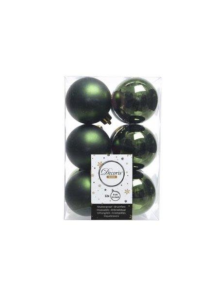 KERSTBAL PLASTIC GLANS-MAT D6CM/12ST DENNENGROEN