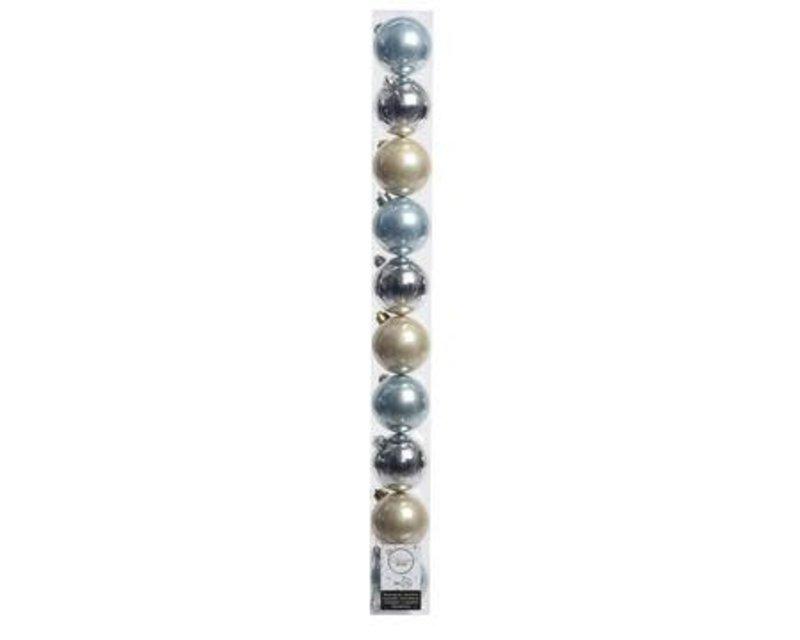 KERSTBAL PLASTIC + DRAADLINTEN BLAUW-ZILVER-PAREL DIA6CM 10ST