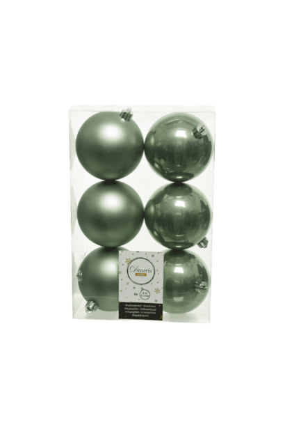 KERSTBAL PLASTIC GLANS-MAT D8CM/6ST SALIE GROEN