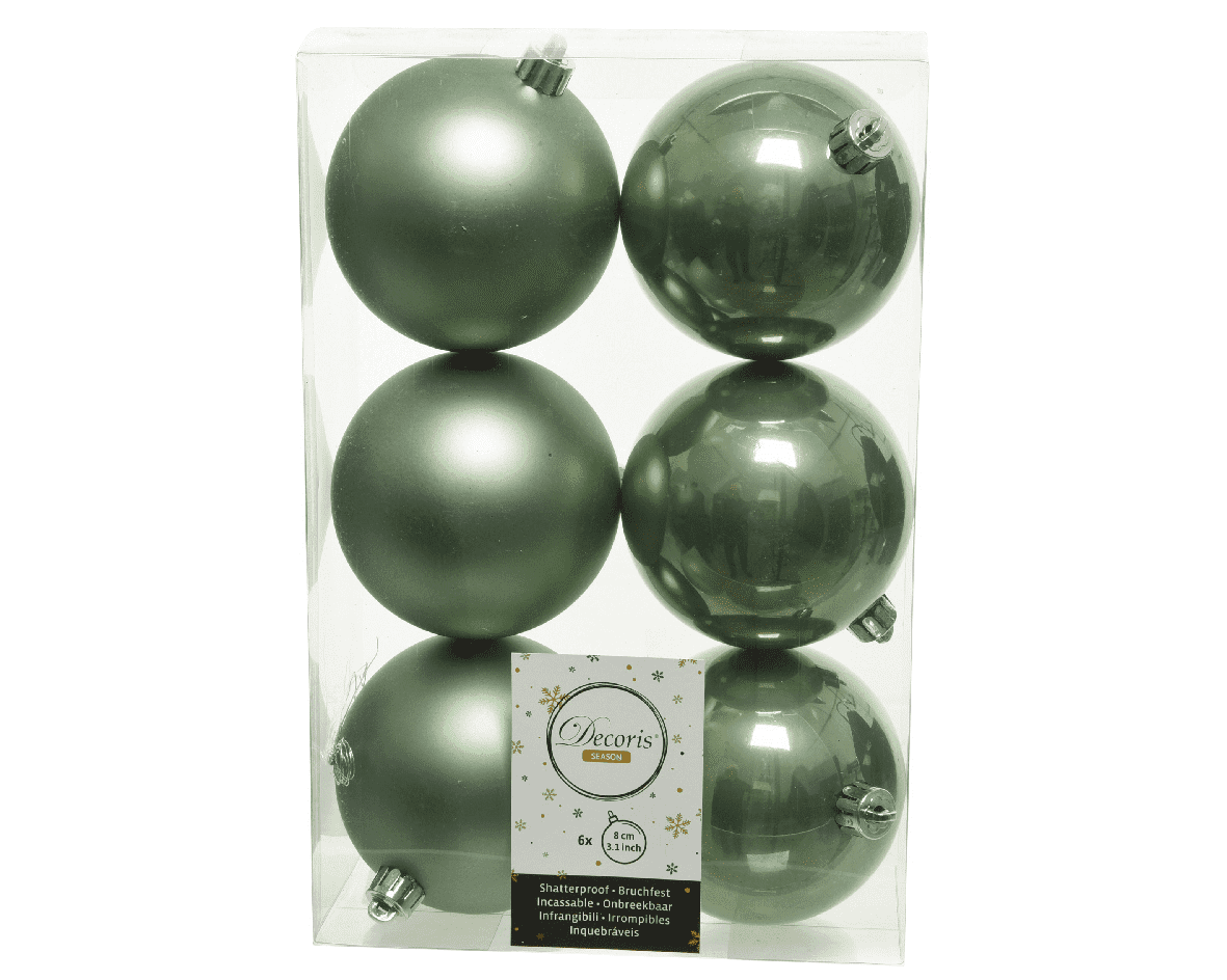 KERSTBAL PLASTIC GLANS-MAT D8CM/6ST SALIE GROEN-1