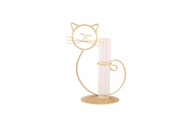 HOUDER CAT 1X GLASS TUBE GOUD 14X10.5XH21.5CM