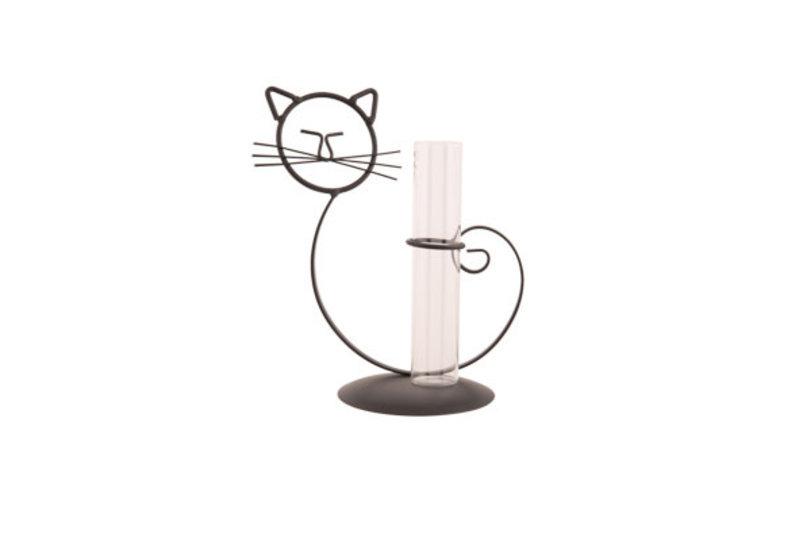 HOUDER CAT 1X GLASS TUBE ZWART 14X10.5XH21.5CM