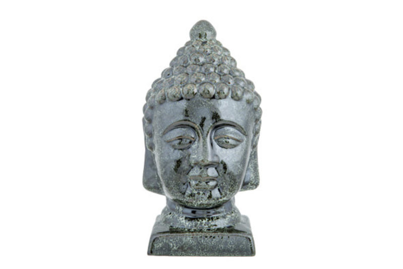 HOOFD BUDDHA REACTIVE GREEN GLAZING GROEN H30CM