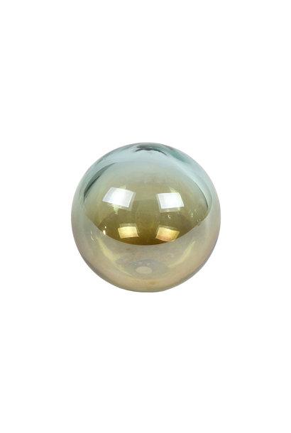 """SCULPTUUR """"BALL"""" GROEN/MESSING GLAS 8X8X7CM"""