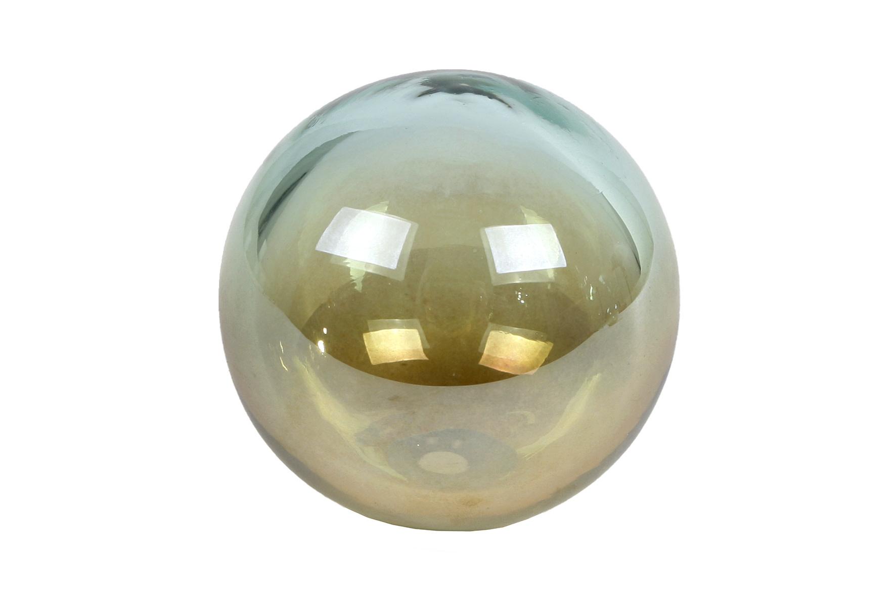 """SCULPTUUR """"BALL"""" GROEN/MESSING GLAS 8X8X7CM-1"""
