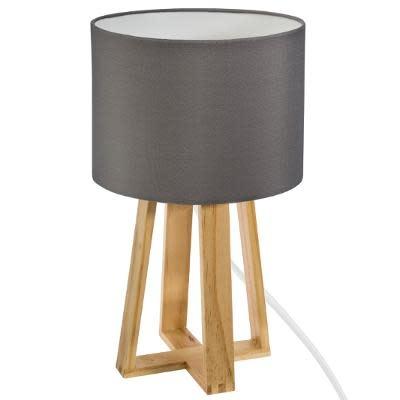 LAMP OP HOUTEN VOET  H34,5 TAUPE-1