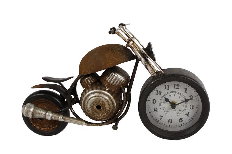 "KLOK ""MOTOR"" ROEST METAAL 35X13X17,5CM"