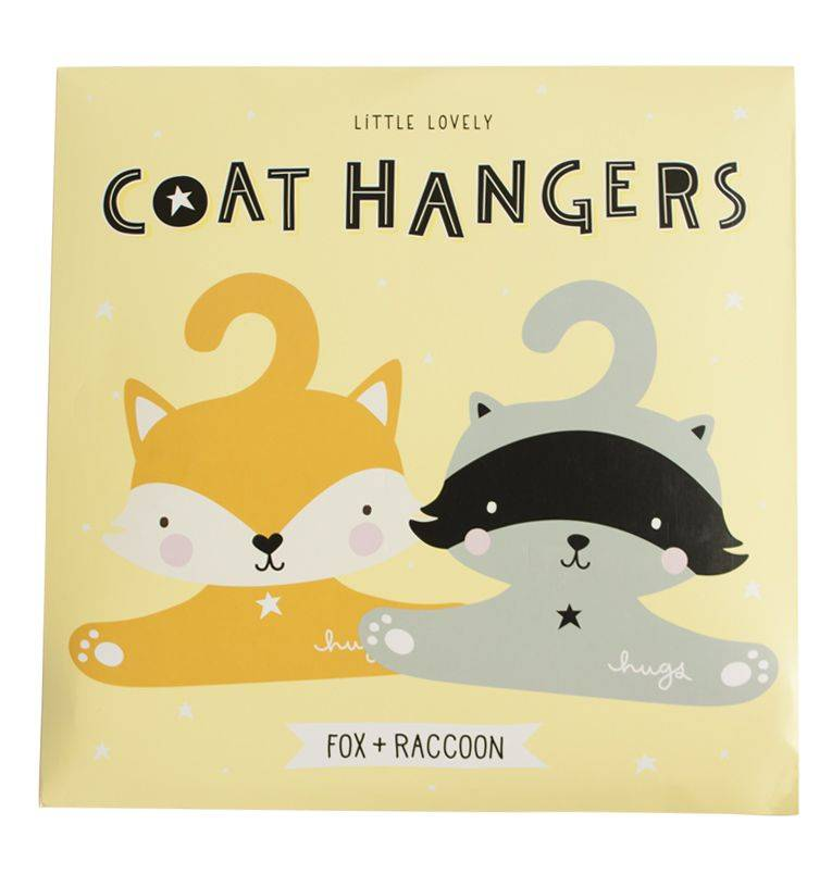 A Little Lovely Company Coat hanger set Raccoon & Fox
