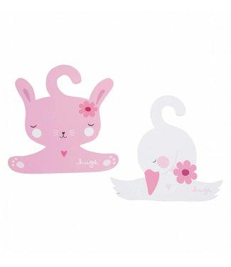 A Little Lovely Company Coat hanger set Bunny & Swan
