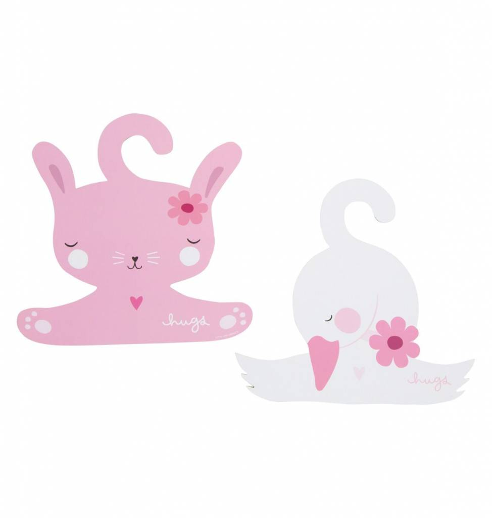 A Little Lovely Company Coat hanger set Bunny & Swan