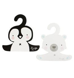 A Little Lovely Company Coat hanger set Penguin & Polar Bear