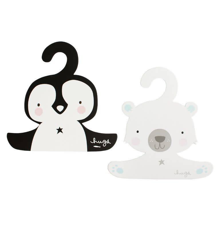 A Little Lovely Company Coat hanger set Penguin & Polar Bear