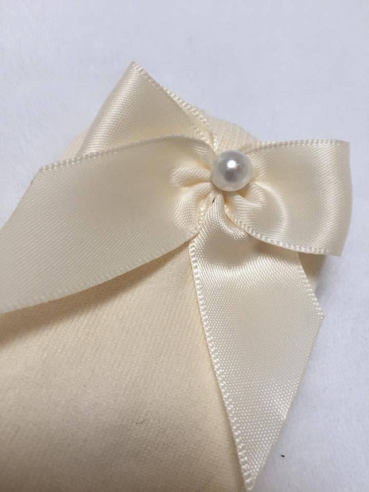 Meia Pata Kneesocks Satin Bow & Pearl Pearl