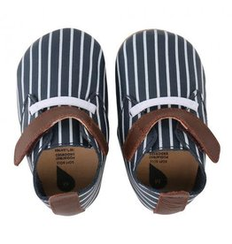 Bobux Soft Sole Navy-White Stripes Tan
