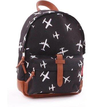 Kidzroom Kleuter rugzakje black & white Plane 31x23x9cm