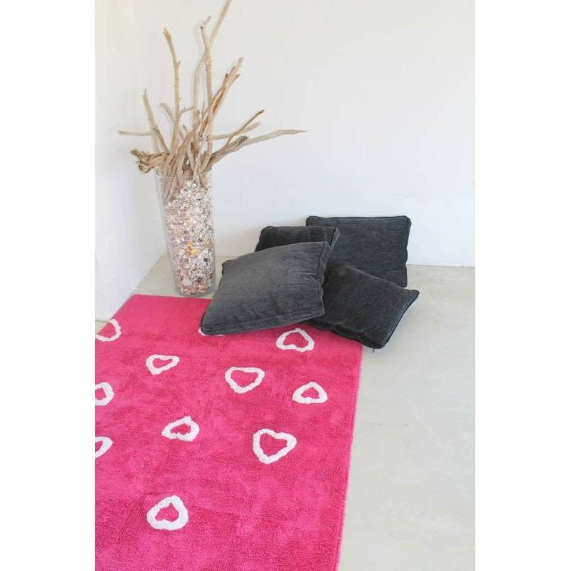 Lorena Canals Mat Heart Fuscia 120 x 160 cm