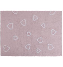 Lorena Canals Mat Pink With Hearts 120 x 160 cm