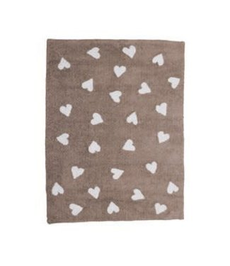 Lorena Canals Mat Taupe With Hearts White