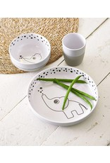 Done By Deer Yummy Plate Happy Dots Grey