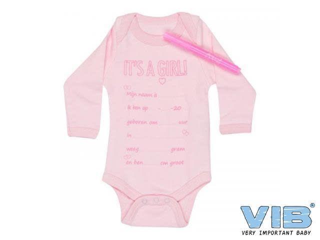 VIB Romper Met Textielmarker 'It's a Girl' 0-3M