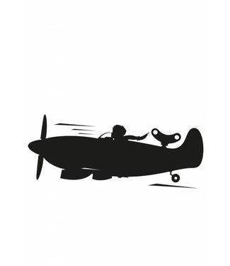 Kek Amsterdam Muursticker Airplane M