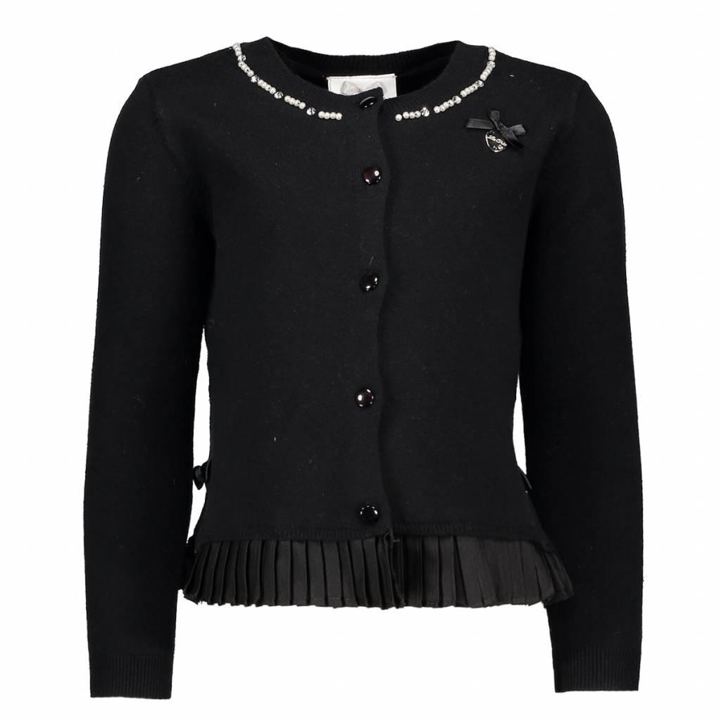 Le Chic Cardigan Plissee At Bottom Black
