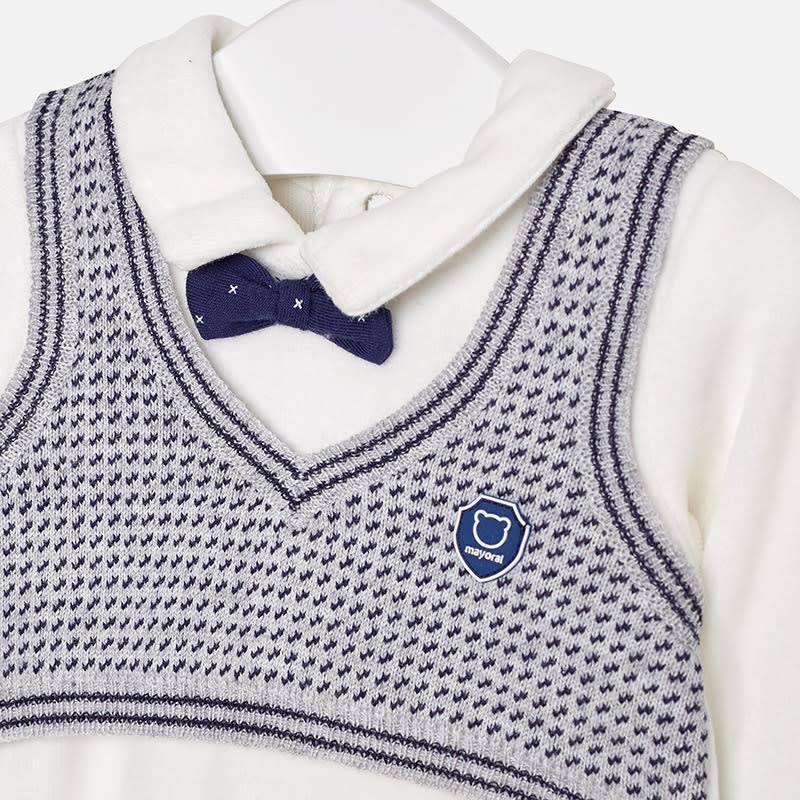 Mayoral Bodysuit With Knit Vest Moon