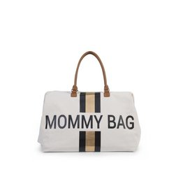 Childhome Mommy Bag Canvas Off-White Stripes Black-Gold