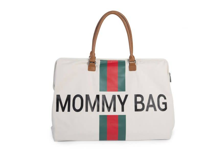 Childhome Mommy Bag Canvas Off-White Stripes Red-Green