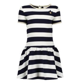 Le Chic Dress Relief Stripe Navy Off-White
