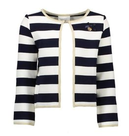Le Chic Cardigan Relief Stripe Navy Off-White