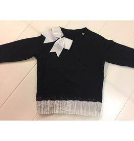 Aline en Lelou Sweater Black Plicé White