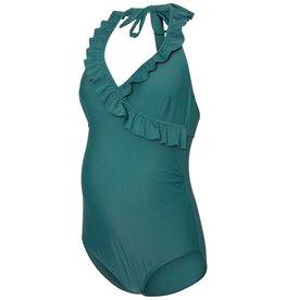 Mamalicious Anemone Ruffle Swimsuit Mallard Green