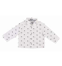 Gymp Shirt White-Navy Doggy Printed