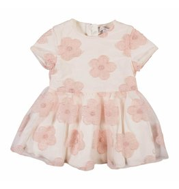 Gymp Dress Flower Off-White / Vieux-Rose Tull