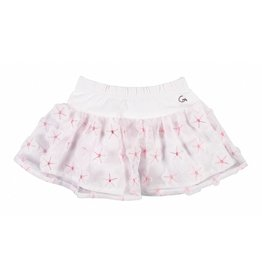Gymp Skirt White Tull With Flowers Baby-Pink