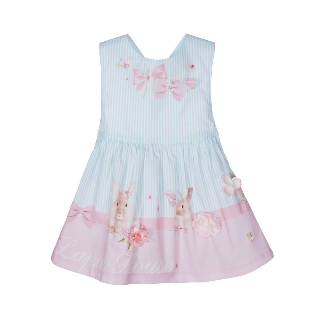 Lapin House Dress Cross Pastel Pink-Mint Rabbit