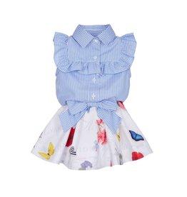 Lapin House Shirt Over Dress Stripe-Flower