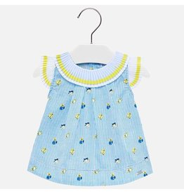 Mayoral Blouse With Pleated Neckline Yellow Blue Stripes