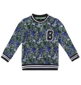 Beebielove Sweater Print Blue/Green 'Leaves'