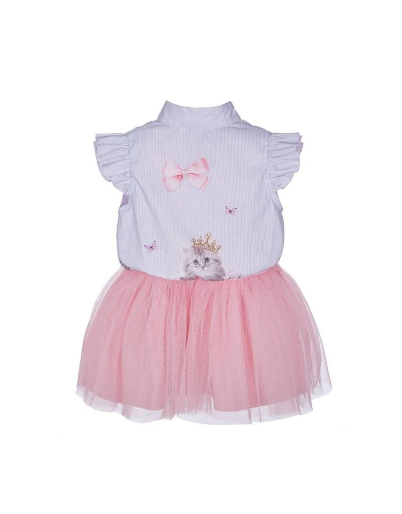 Lapin House Dress & Top Tull Pink Cat Printed